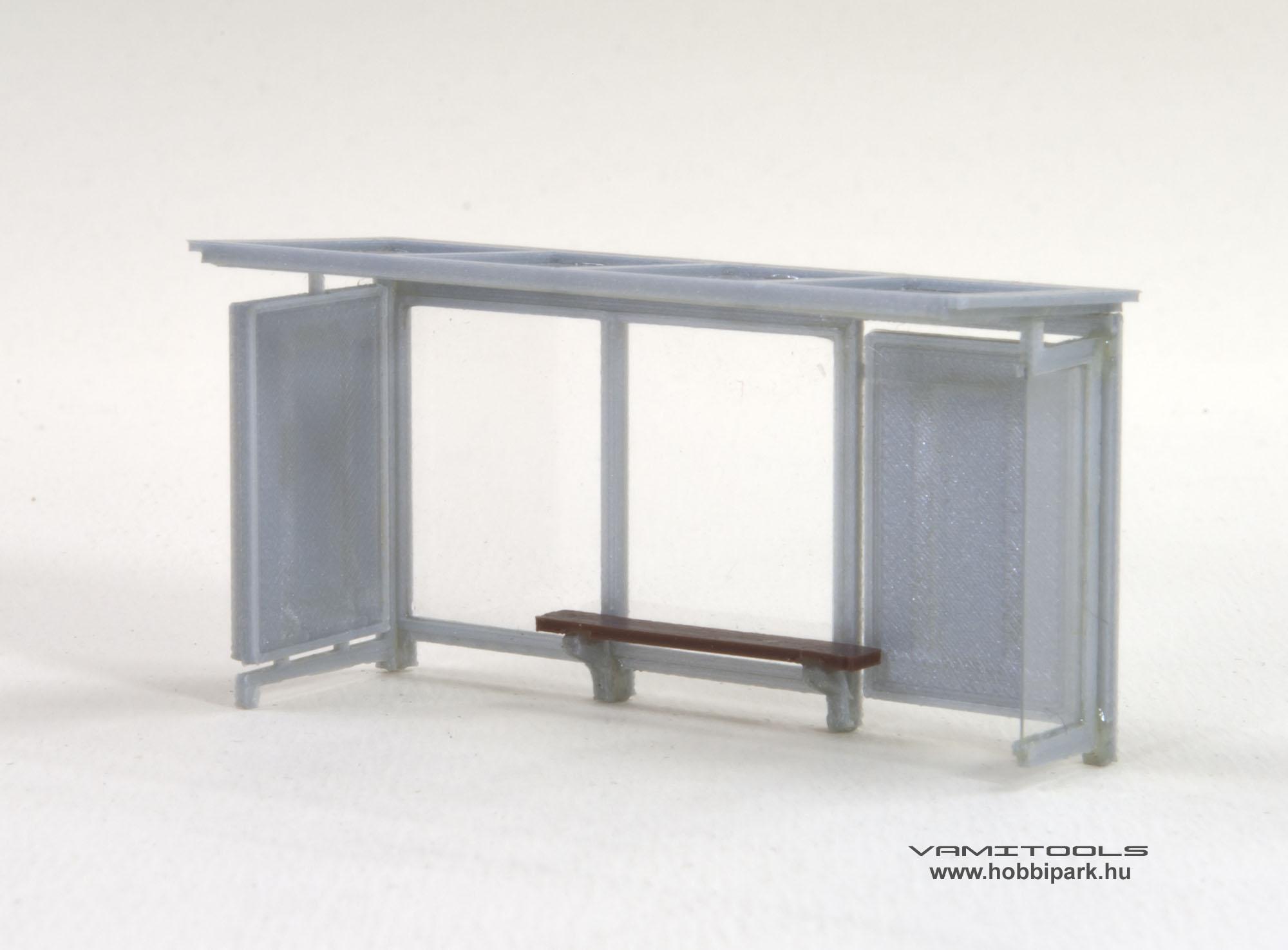 1:87, 1:120, H0, TT, modell, buszmegálló, beálló, buszöböl, váró, váróterem, vasútmodell, dioráma, terepasztal